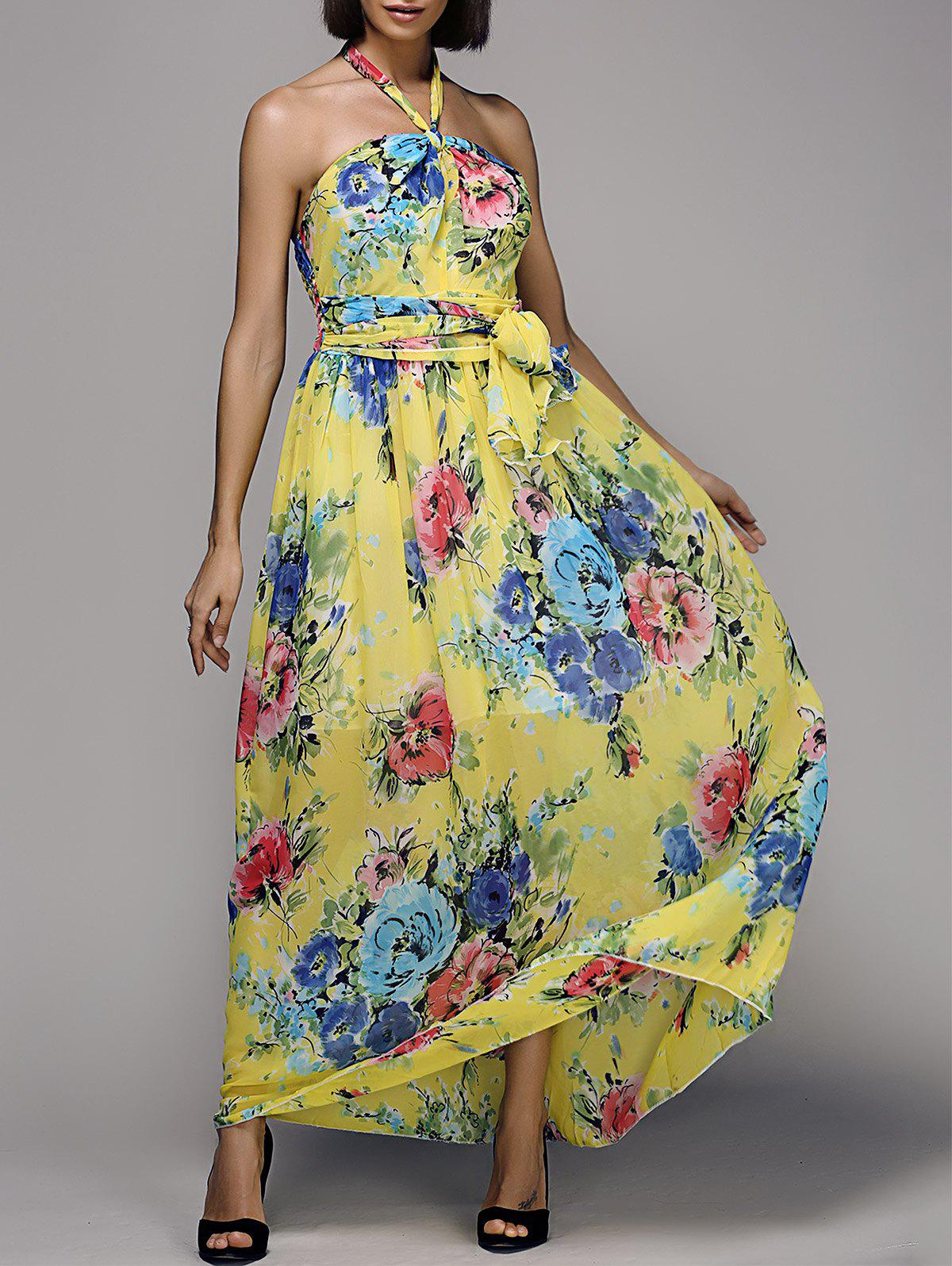Stylish Floral Print Halter Neck Women's Maxi Chiffon Dress