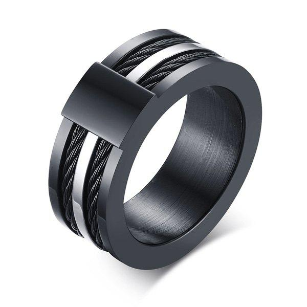 Punk Style Wire Decorated Ring - BLACK