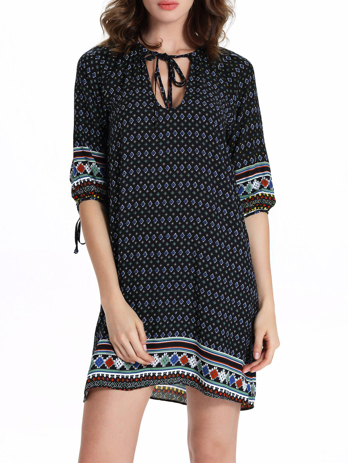 Stylish 3/4 Sleeve Hollow Out Ethnic Print Dress For Women - CADETBLUE 2XL