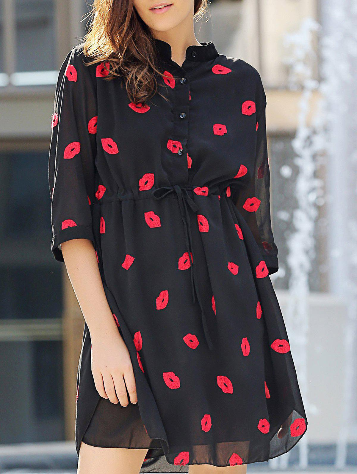 Chic 3/4 Sleeve Stand Collar Lips Pattern Women's Dress - BLACK L