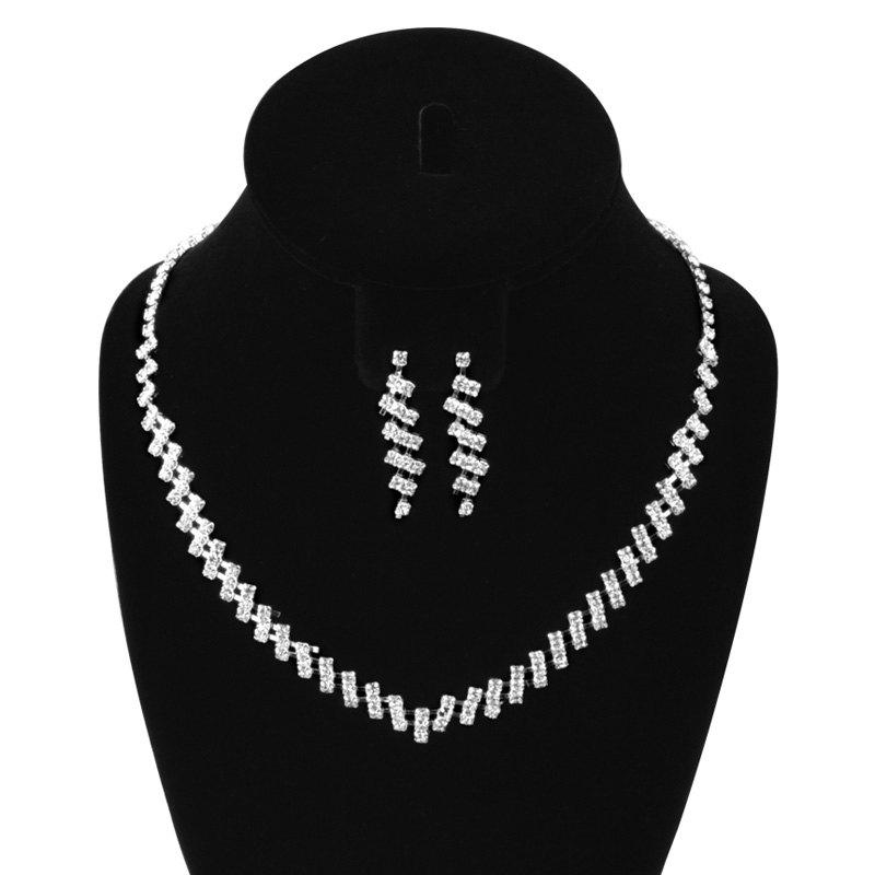 A Suit of Rectangle Faux Zircon Necklace and Earrings