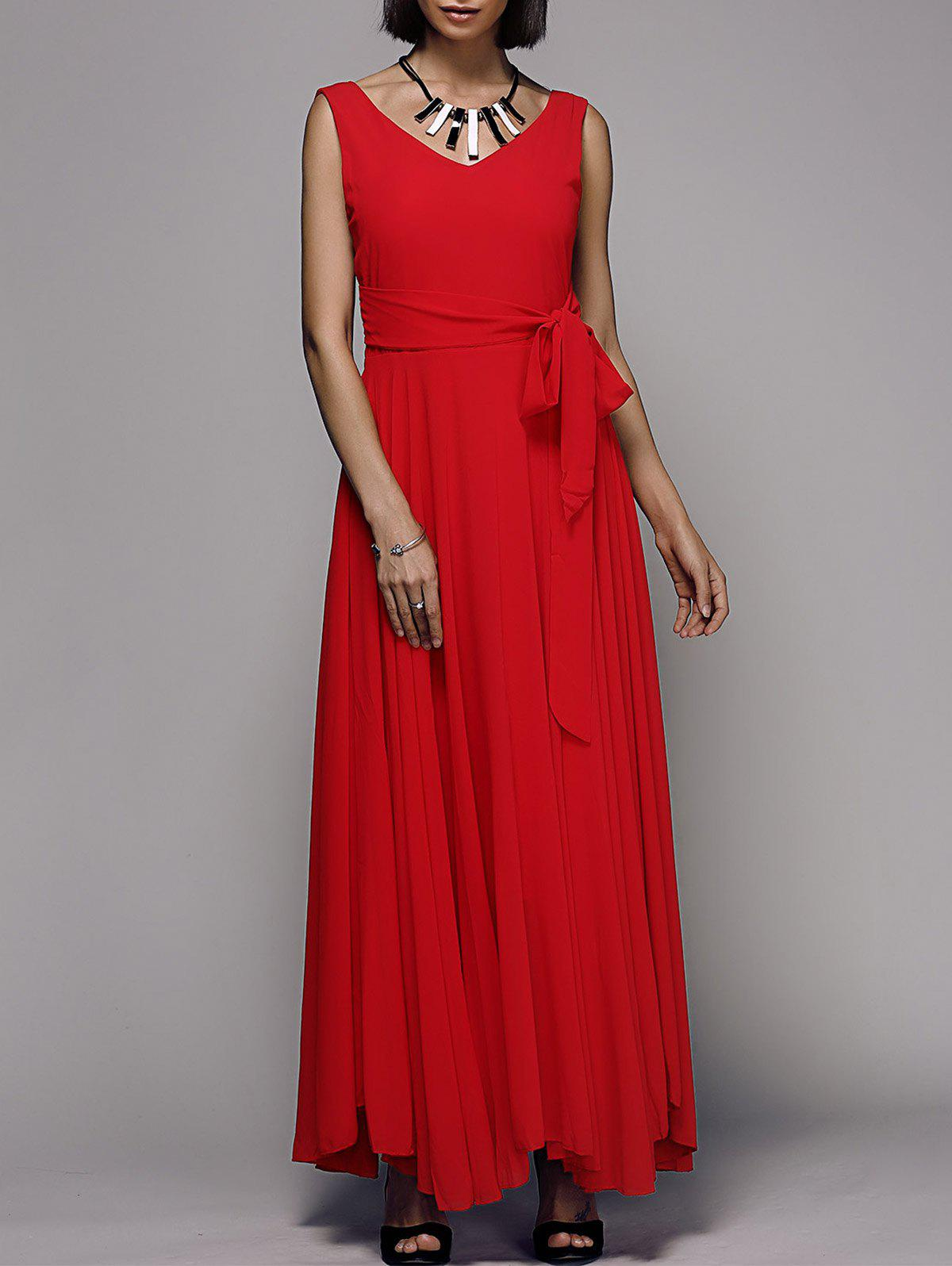 Elegant Solid Color Sleeveless V-Neck Womens Chiffon DressWomen<br><br><br>Size: M<br>Color: RED