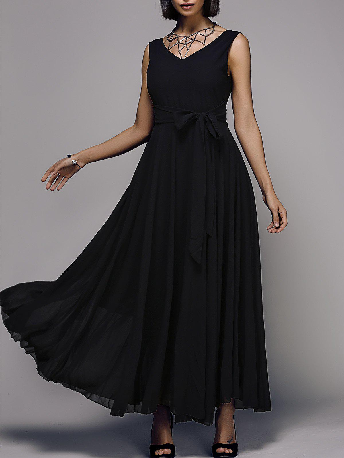 Elegant Solid Color Sleeveless V-Neck Women's Chiffon Dress - BLACK M