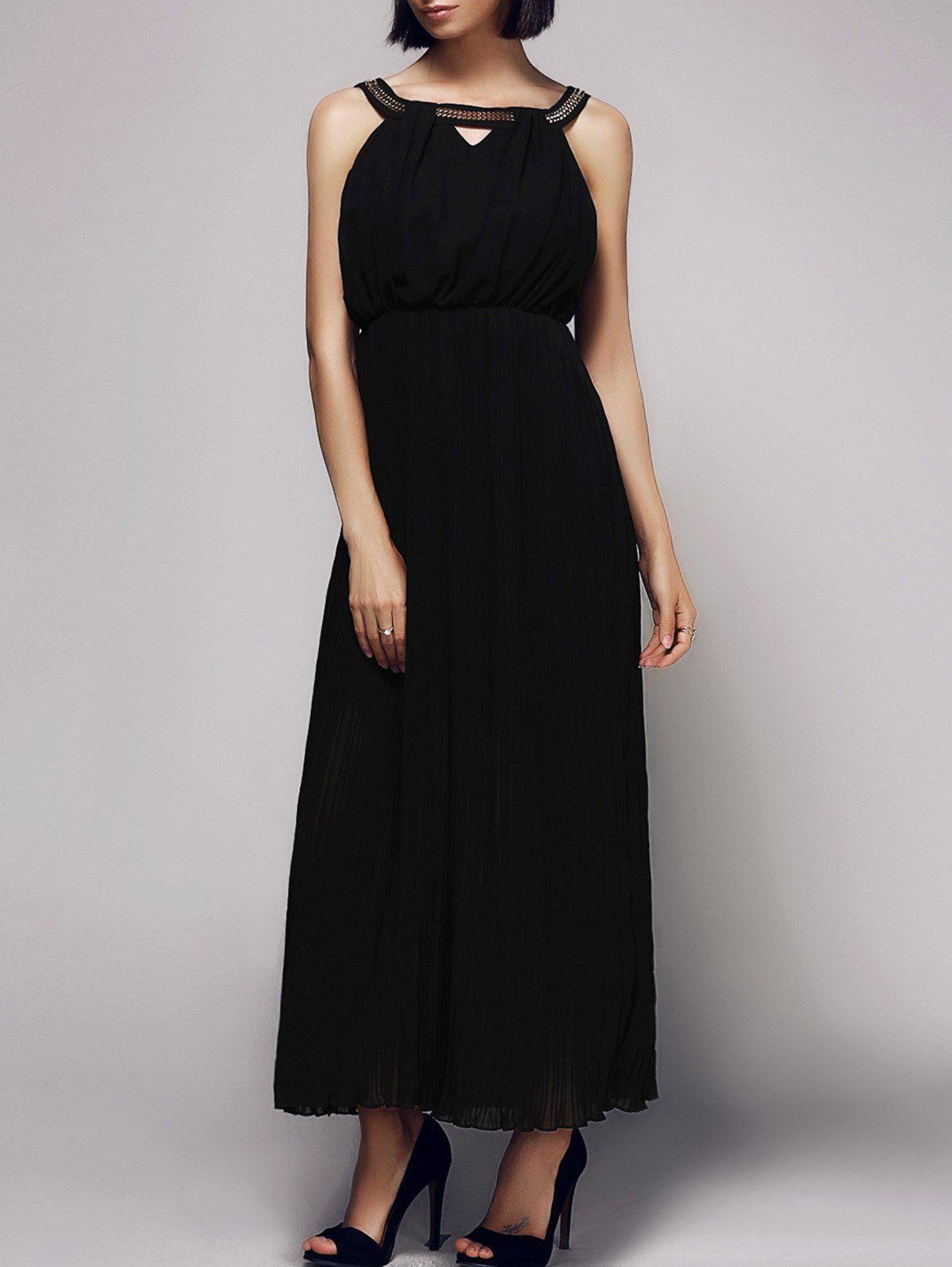 Elegant Women's Sleeveless Rhinestoned Hollow Out Chiffon Dress