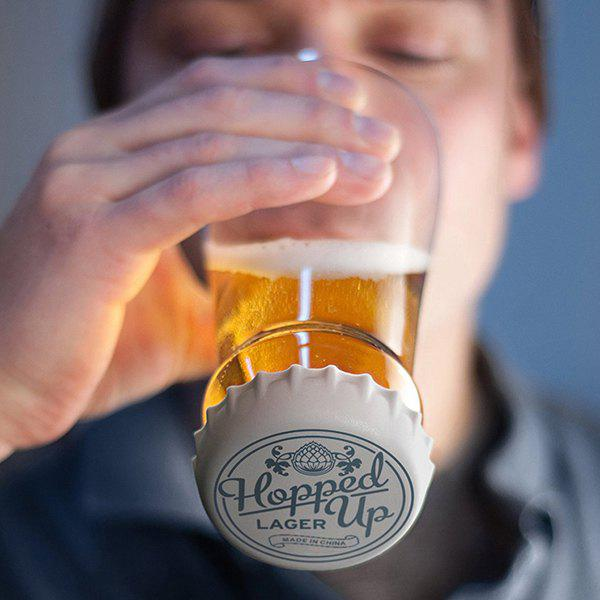 Hot Sale Hopped Up Inverted Silicone Lid Transparent Glass Beer Cup - GRAY