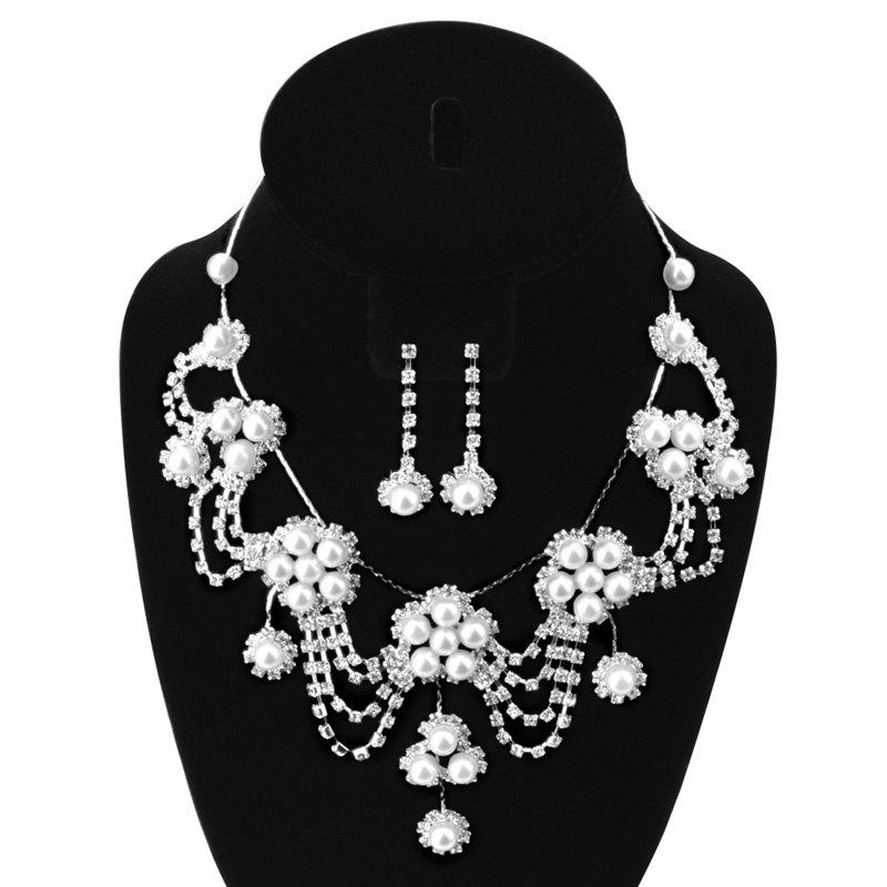 A suit of Elegant Faux Pearl Zircon Flower Tassel Necklace and Earrings For Women - SILVER