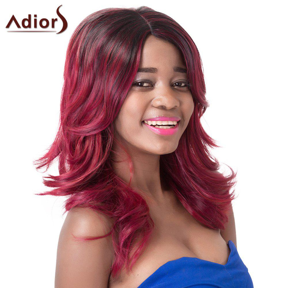 Wave Medium Fashion Red Mixed Black Synthetic Adiors Wig For Women red mixed black synthetic fluffy wave medium women s adiors wig
