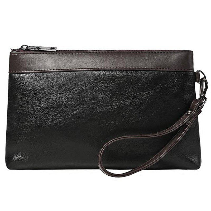 Casual cuir PU et Color Block design Men  's Pochette - Noir