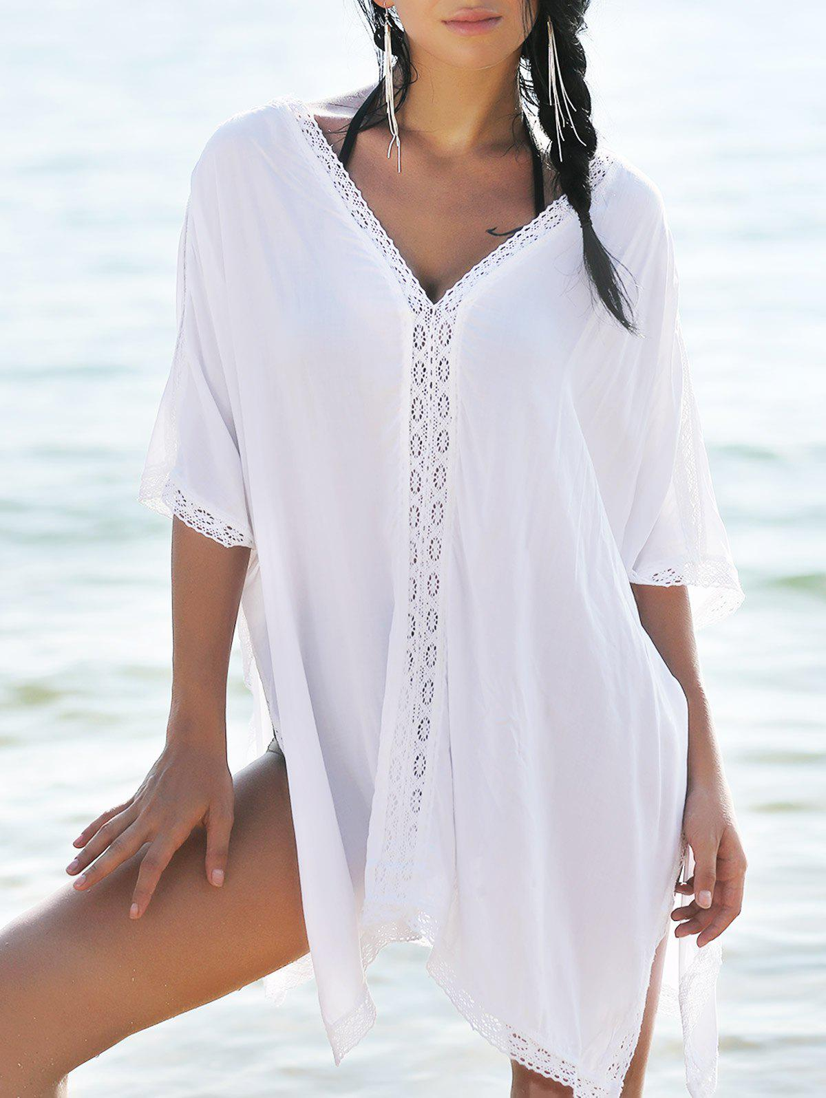 Bohemian Cover-Up With Lace Trim - WHITE ONE SIZE(FIT SIZE XS TO M)
