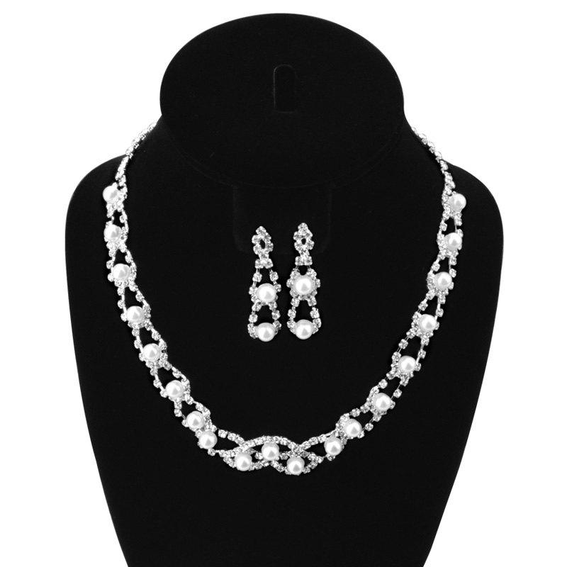 A Suit of Hollow Out Faux Pearl Rhinestone Necklace and Earrings - SILVER