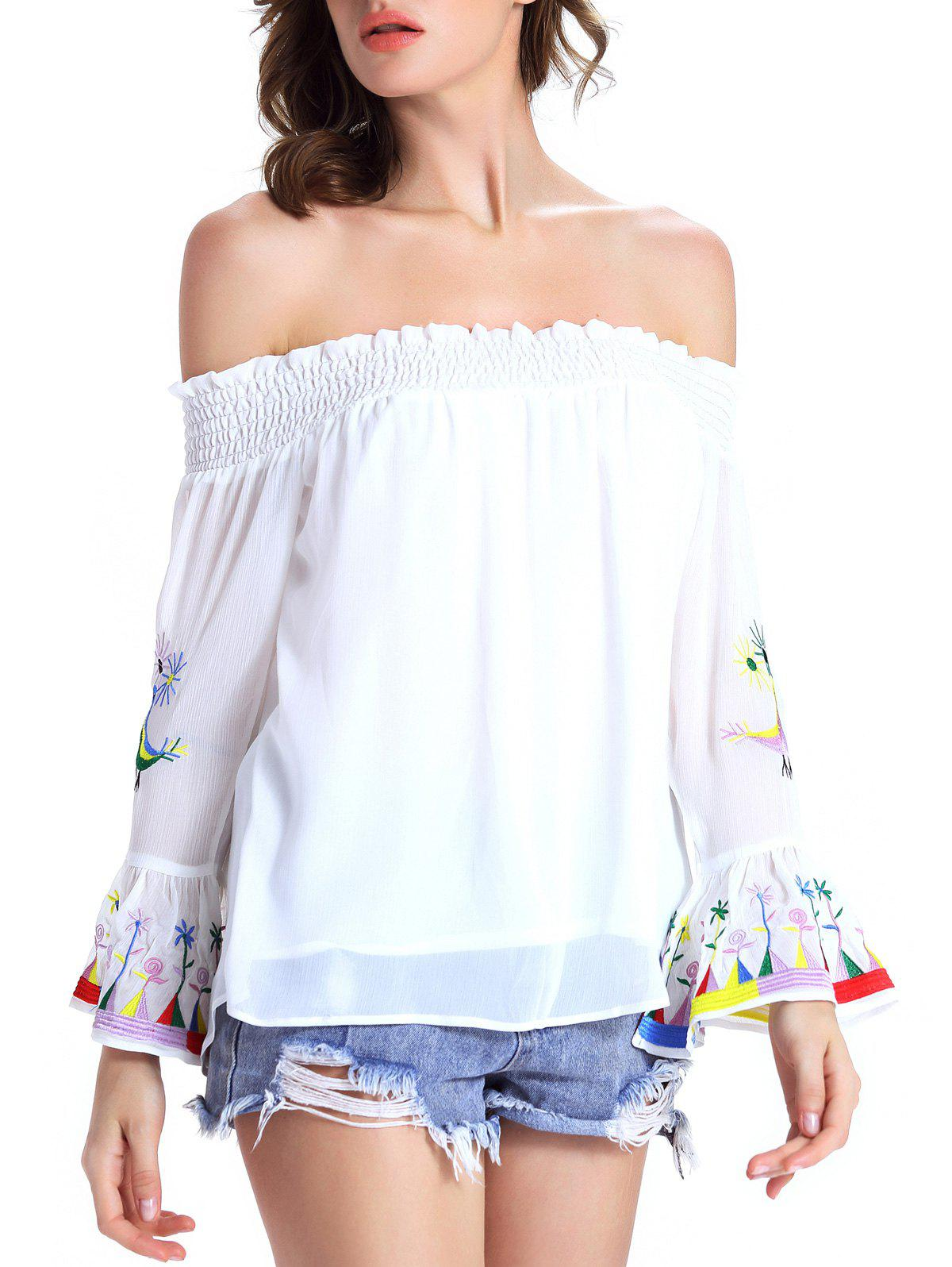 Stylish Ethnic Print Off The Shoulder Blouse For Women - WHITE XL