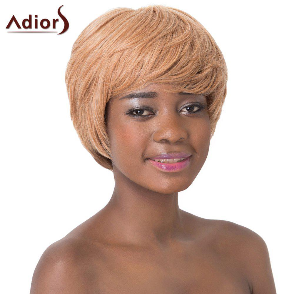Refreshing Full Bang Short Straight Ombre Color Capless Synthetic Adiors Wig For Women - COLORMIX