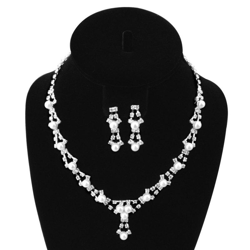 A suit of Elegant Faux Pearl Zircon Hollowed Necklace and Earrings For Women