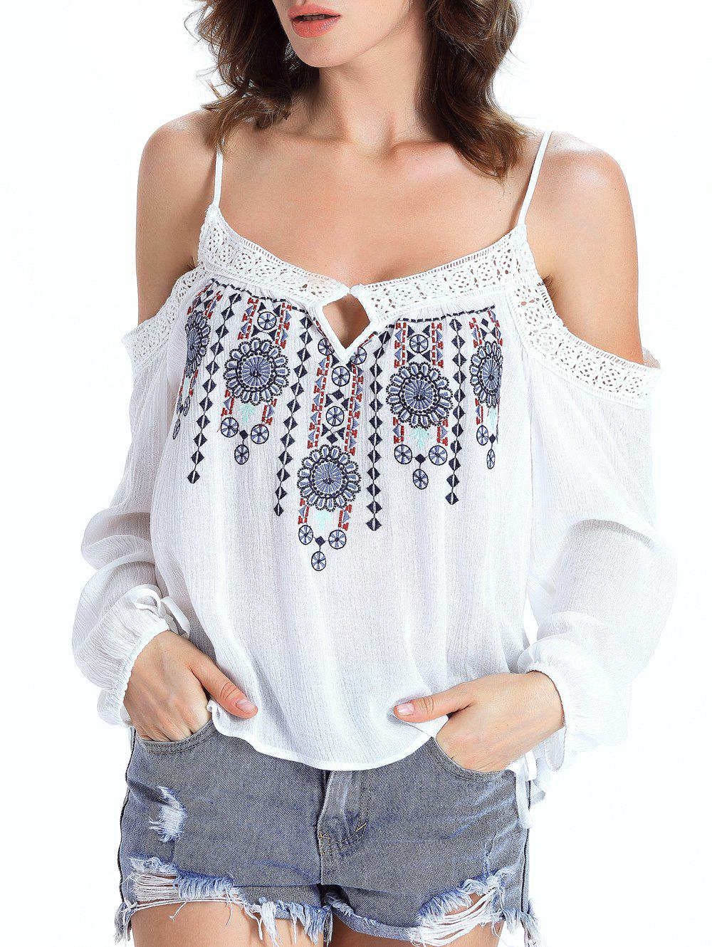 Stylish Ethnic Print Cut Out Blouse For Women - WHITE 2XL