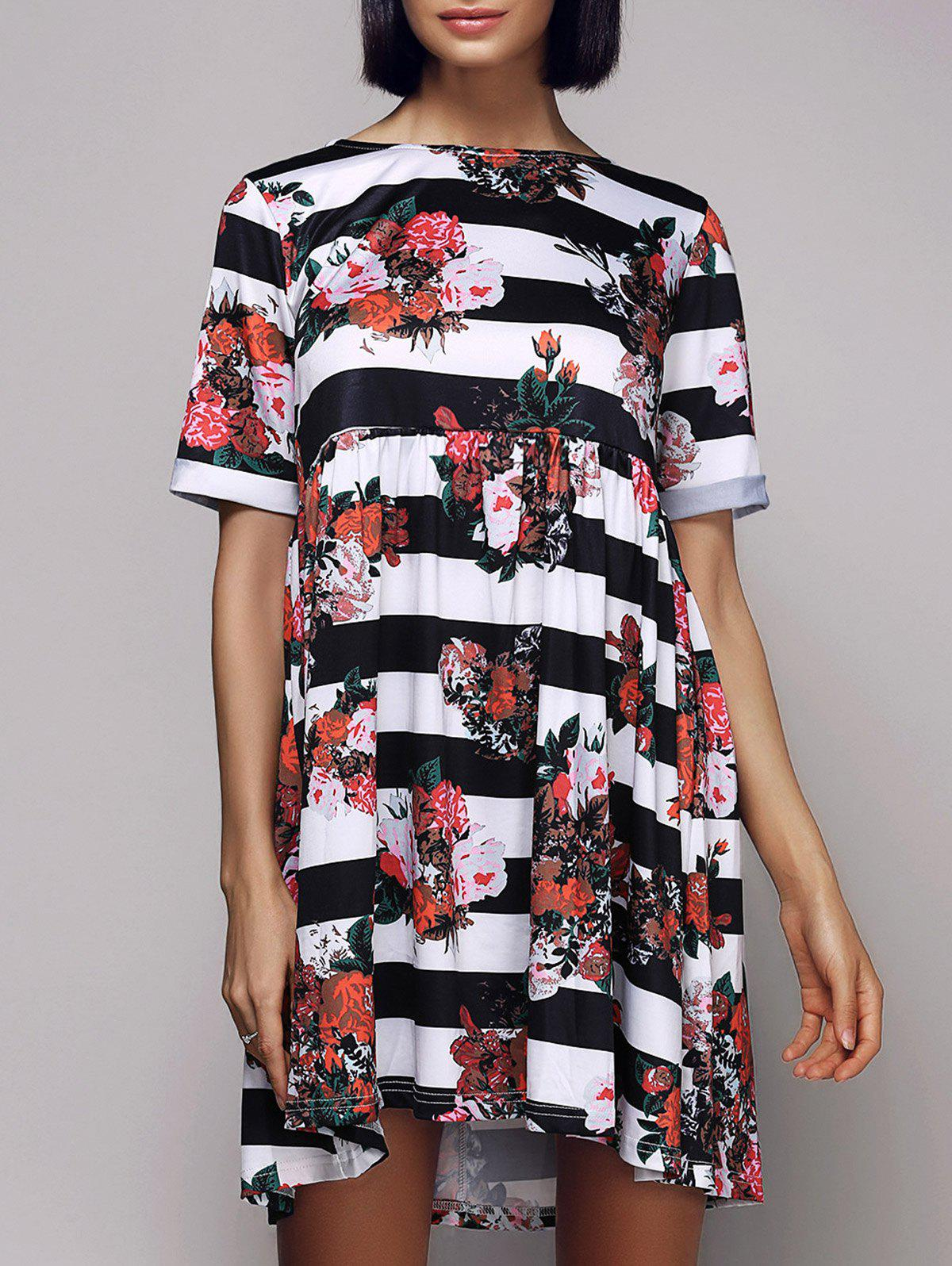 Casual Women's Short Sleeve Round Neck Striped Floral Dress - BLACK L