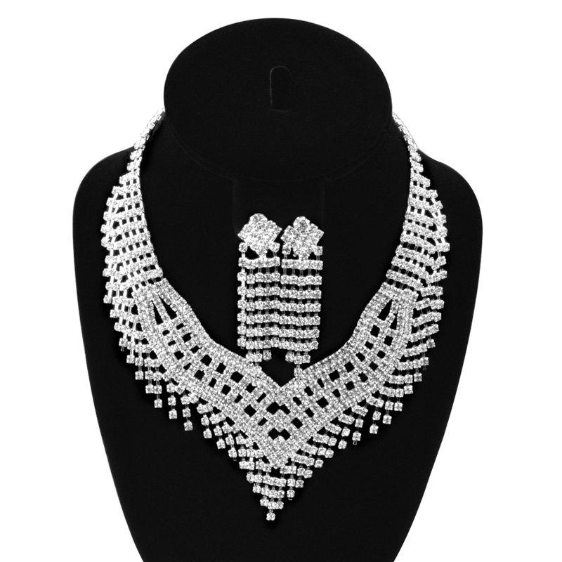 A Suit of Tassel Faux Zircon Necklace and Earrings