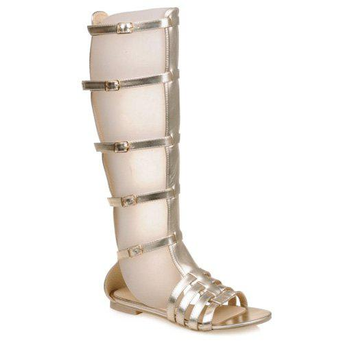 Leisure Buckles and Metal Color Design Women's Sandals - GOLDEN 39
