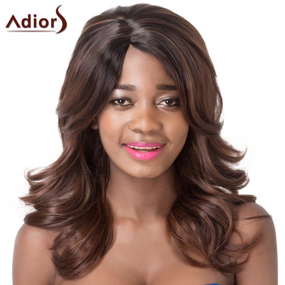 Wavy Black Brown Mixed Vogue Medium Synthetic Adiors Wig For Women - COLORMIX