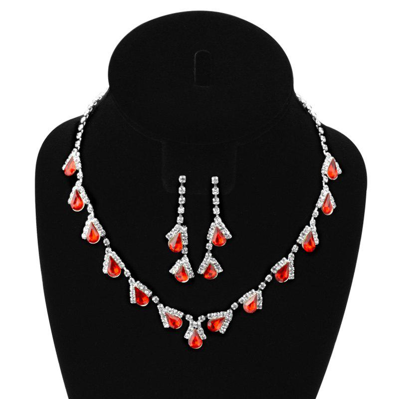 A Suit of Water Drop Faux Ruby Zircon Necklace and Earrings - RED