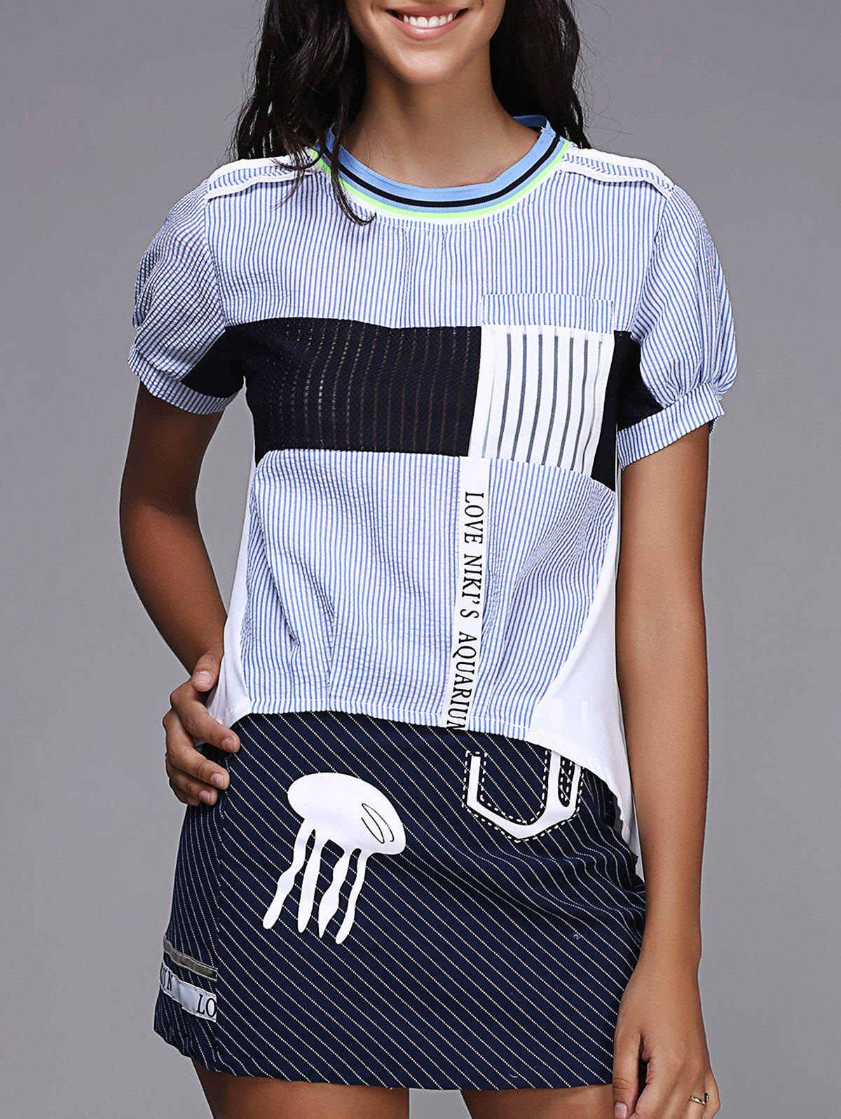 Short Sleeve Stripe Two Piece Dress - BLUE/BLACK ONE SIZE(FIT SIZE XS TO M)