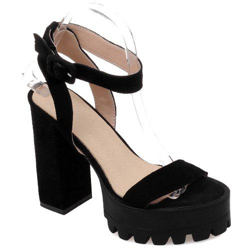 Fashionable Black and Suede Design Women's Sandals - BLACK 38