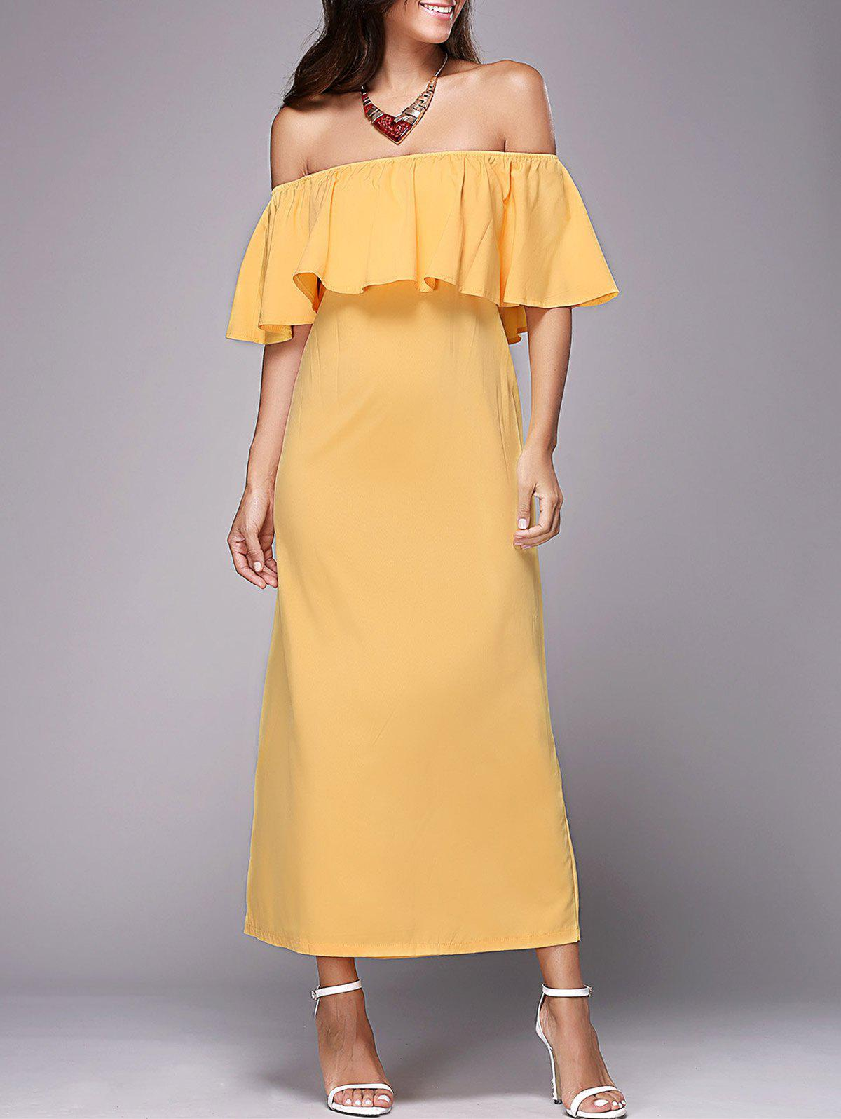 Sexy Off-The-Shoulder Short Sleeve Solid Color Flounced Women's Dress - YELLOW M