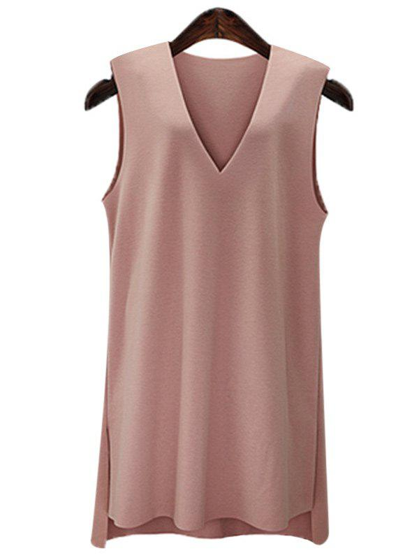 Stylish Women's Plus Size V-Neck High Low Dress