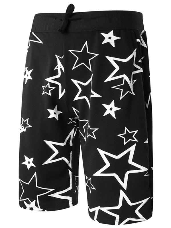 Casual Elastic Straight Leg Stars Printed Drawstring Men's Shorts - BLACK XL