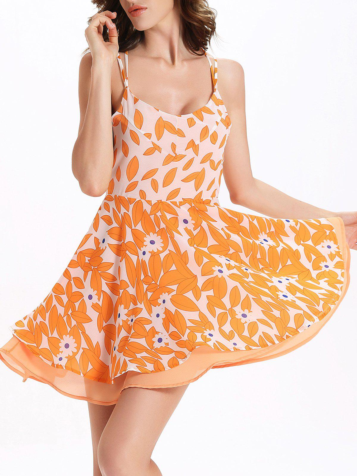Stylish Print Open Back Sleeveless Dress For Women - ORANGEPINK 2XL
