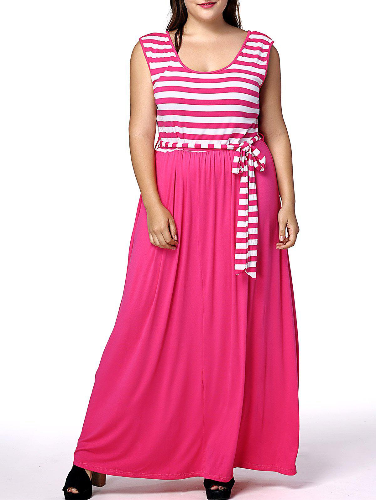 Stylish Scoop Neck Sleeveless Women's Plus Size Maternity Maxi Dress - ROSE XL