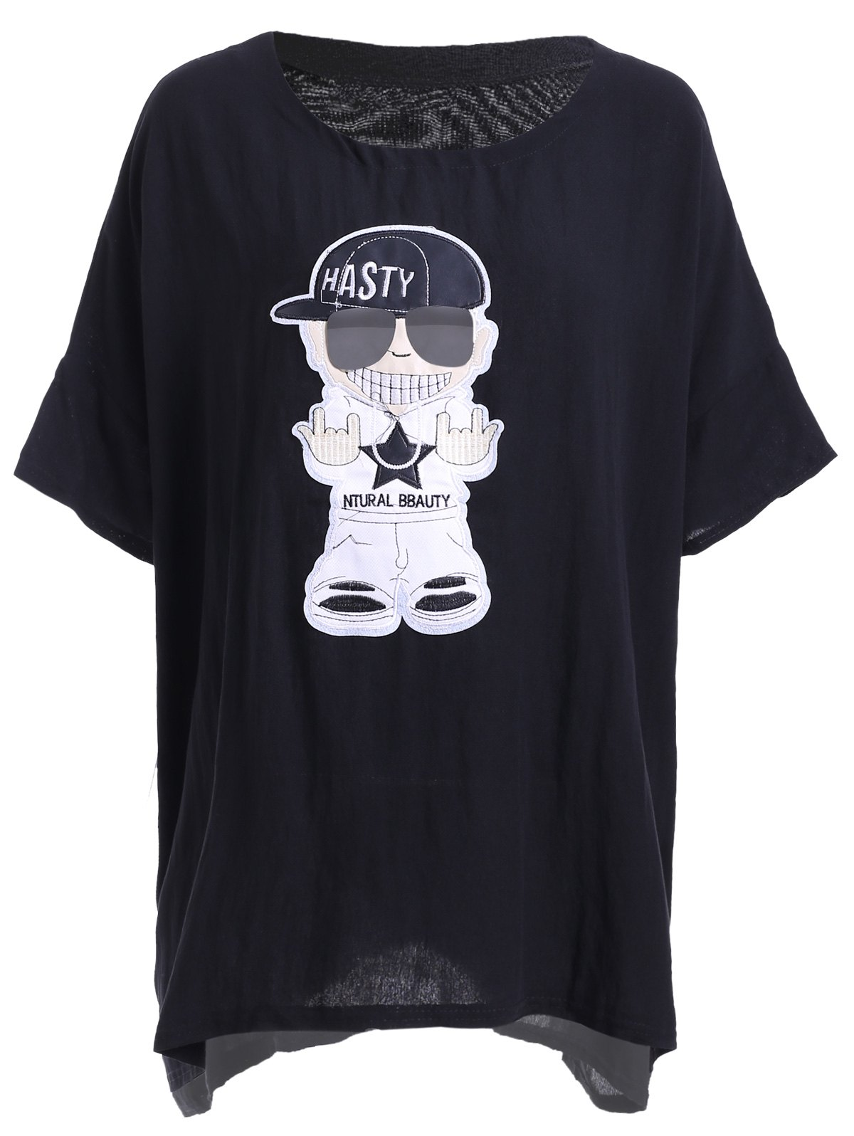 Leisure Style Round Collar Loose-Fitting Cartoon Pattern Women's T-Shirt - BLACK ONE SIZE(FIT SIZE XS TO M)