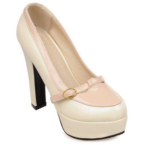 Trendy Hit Color and Buckle Design Women's Pumps - OFF WHITE 37