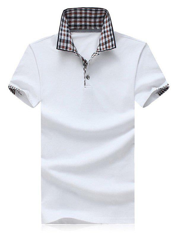 Plus Size Color Block Plaid Splicing Turn-down Collar Shorts Sleeves Men's Polo T-Shirt - WHITE 5XL