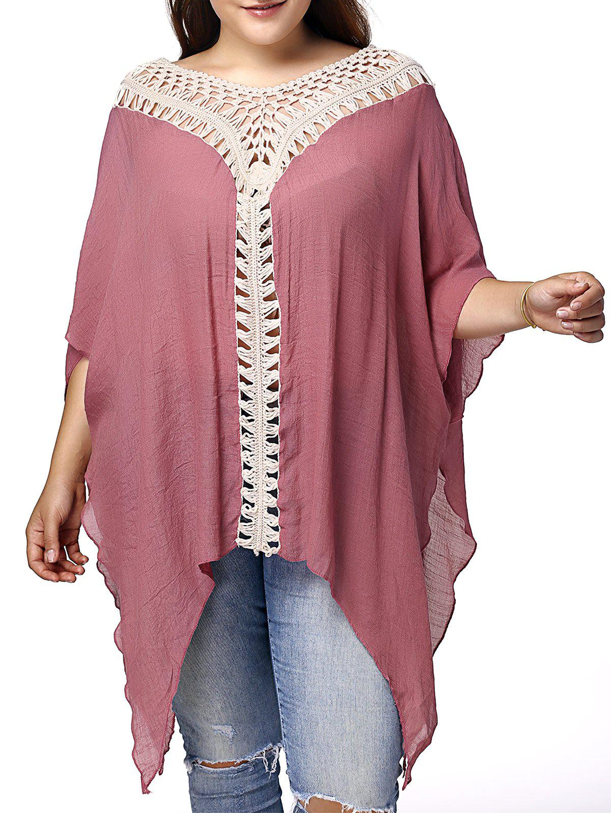 Stylish V Neck 3/4 Sleeve Asymmetrical Hollow Out Plus Size Women's Maternity Blouse - PINK XL