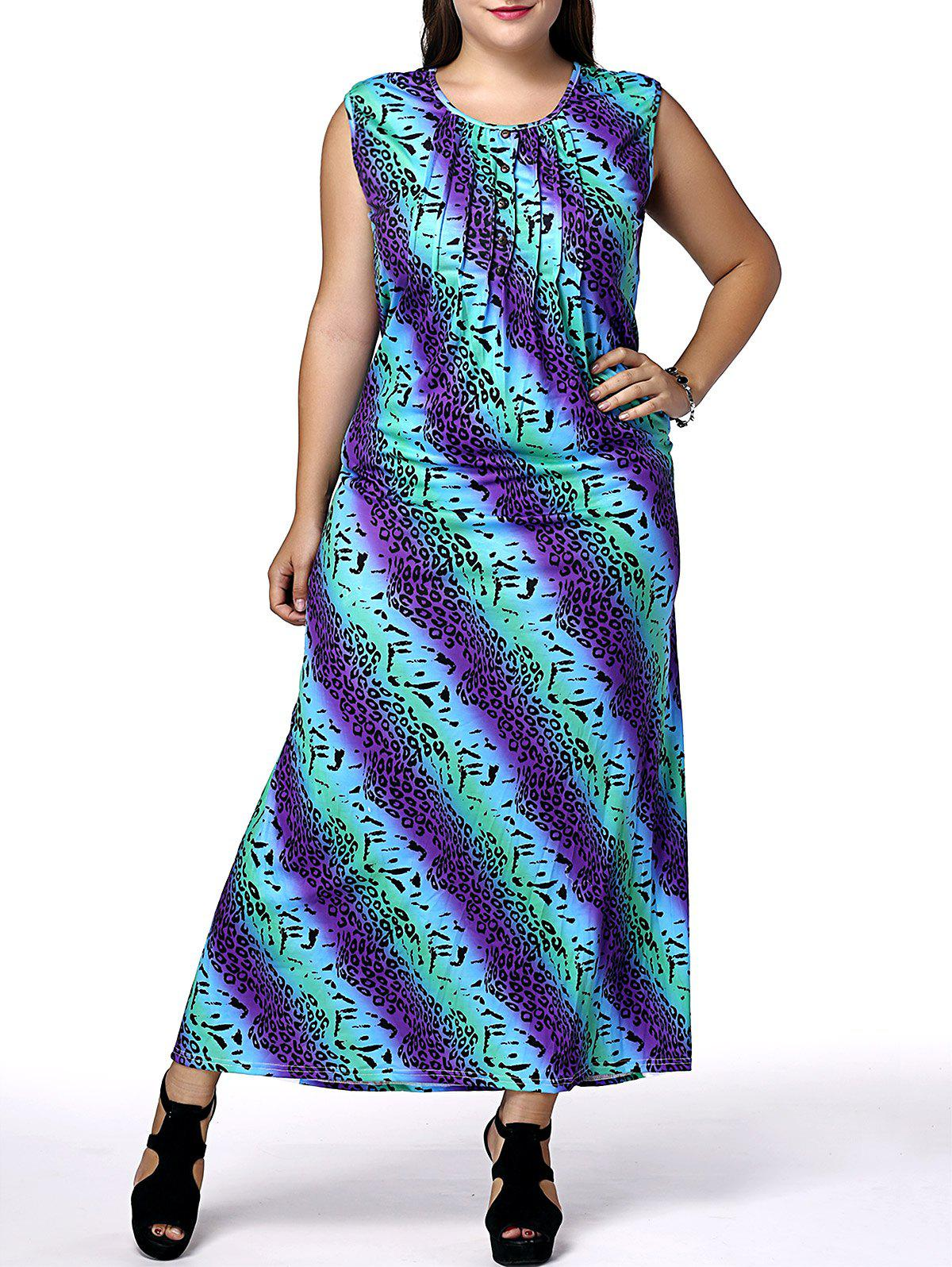 Casual Sleeveless Scoop Neck African Print Plus Size Women's Dress - COLORMIX 2XL