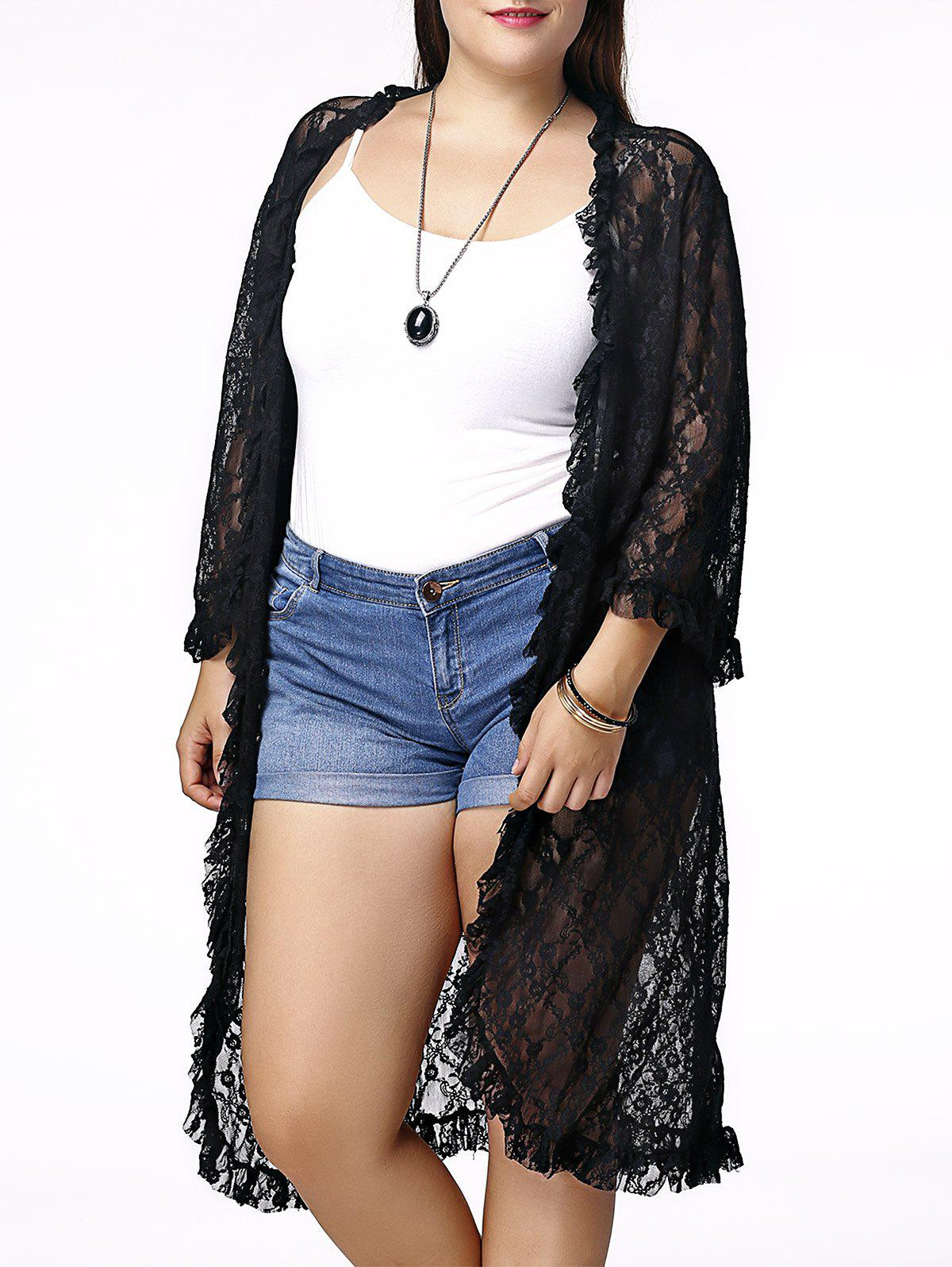 Chic Solid Color Cut Out 3/4 Sleeve Plus Size Lace Cardigan For Women - ONE SIZE(FIT SIZE XS TO M) BLACK