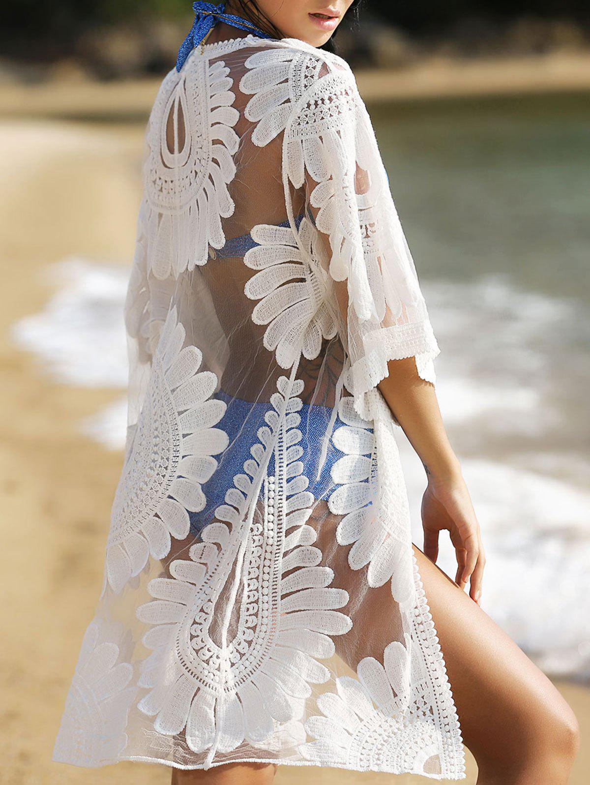 Bohemian Style Floral 3/4 Sleeve Women's Cover-Up - WHITE ONE SIZE(FIT SIZE XS TO M)