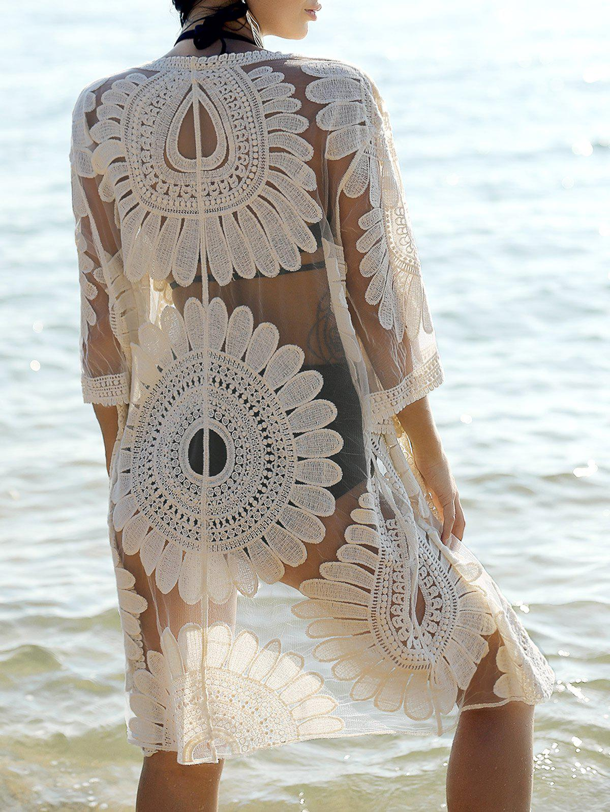 Bohemian Lace Spliced Flare Sleeve Women's Cover-Up - OFF WHITE ONE SIZE(FIT SIZE XS TO M)