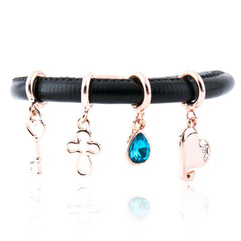 Punk Style Cross Water Drop Faux Gem Heart Shape Rhinestone Key Charm Bracelet For Women - LEATHER BLACK