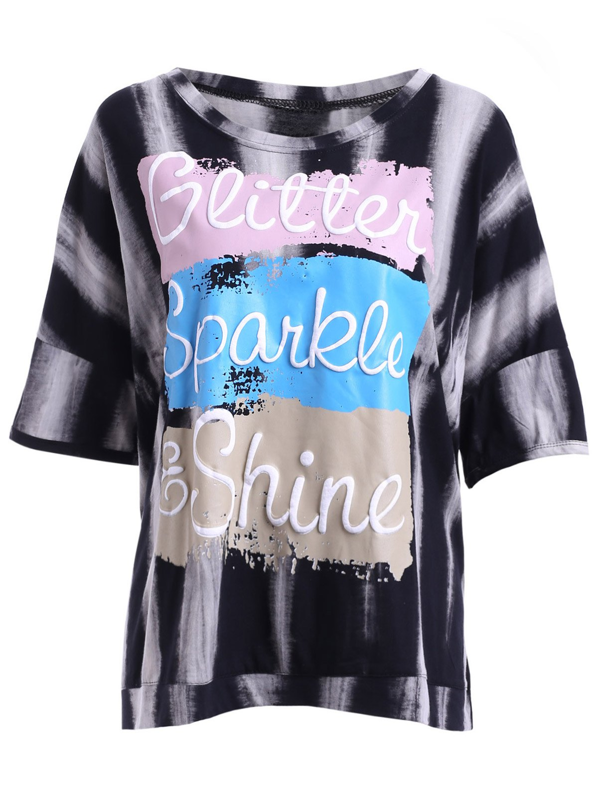 Stylish Women's Scoop Neck Colorful Lettern Print Short Sleeves T-Shirt - BLACK ONE SIZE(FIT SIZE XS TO M)
