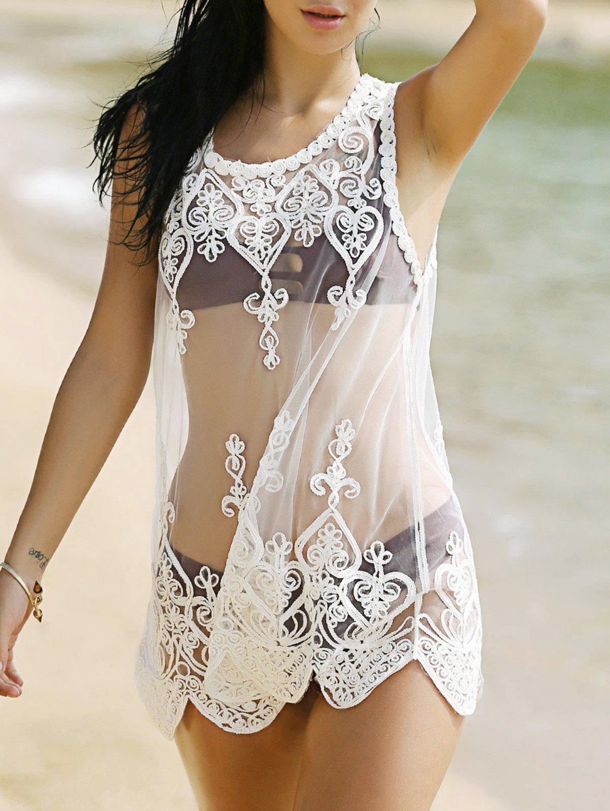 Stylish Scoop Neck Lace Spliced Women's Cover-Up - WHITE ONE SIZE(FIT SIZE XS TO M)