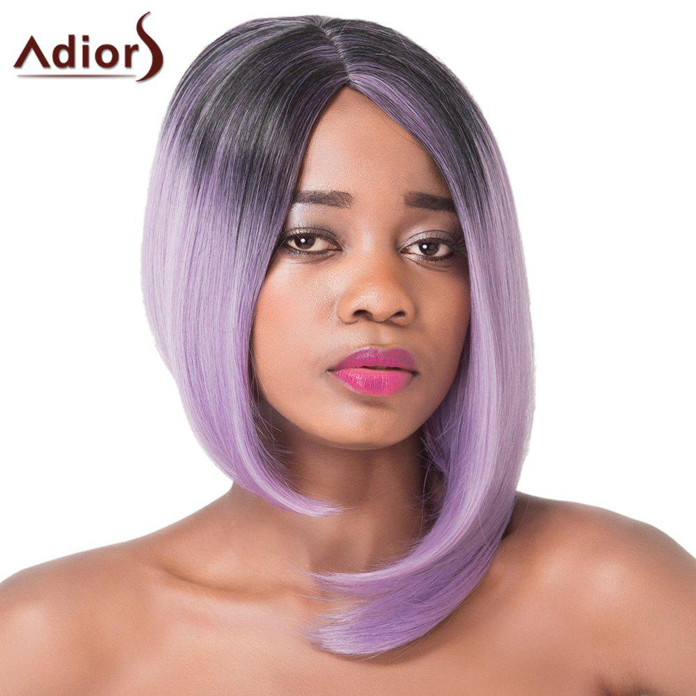 Prevailing Medium Straight Asymmetry Hair Mixed Color Synthetic Adiors Wig For Women