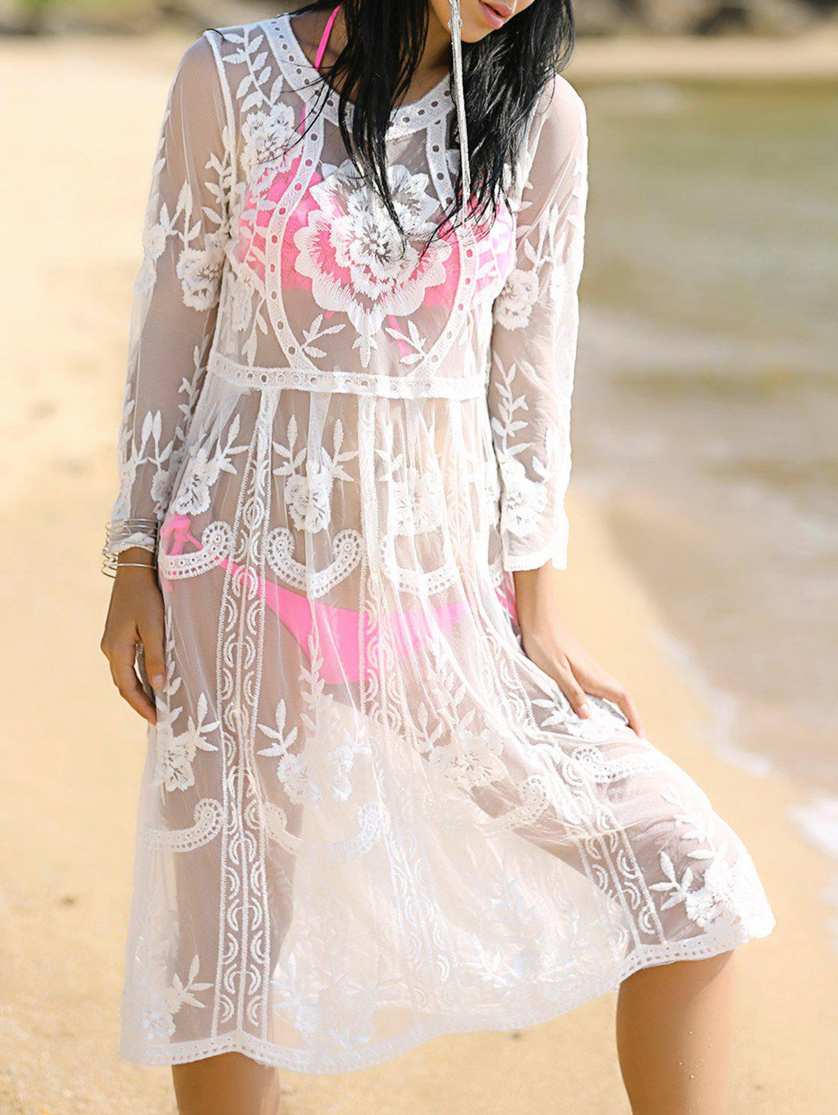 Stylish Women's Round Neck Long Sleeve See-Through Cover-Up - WHITE ONE SIZE(FIT SIZE XS TO M)