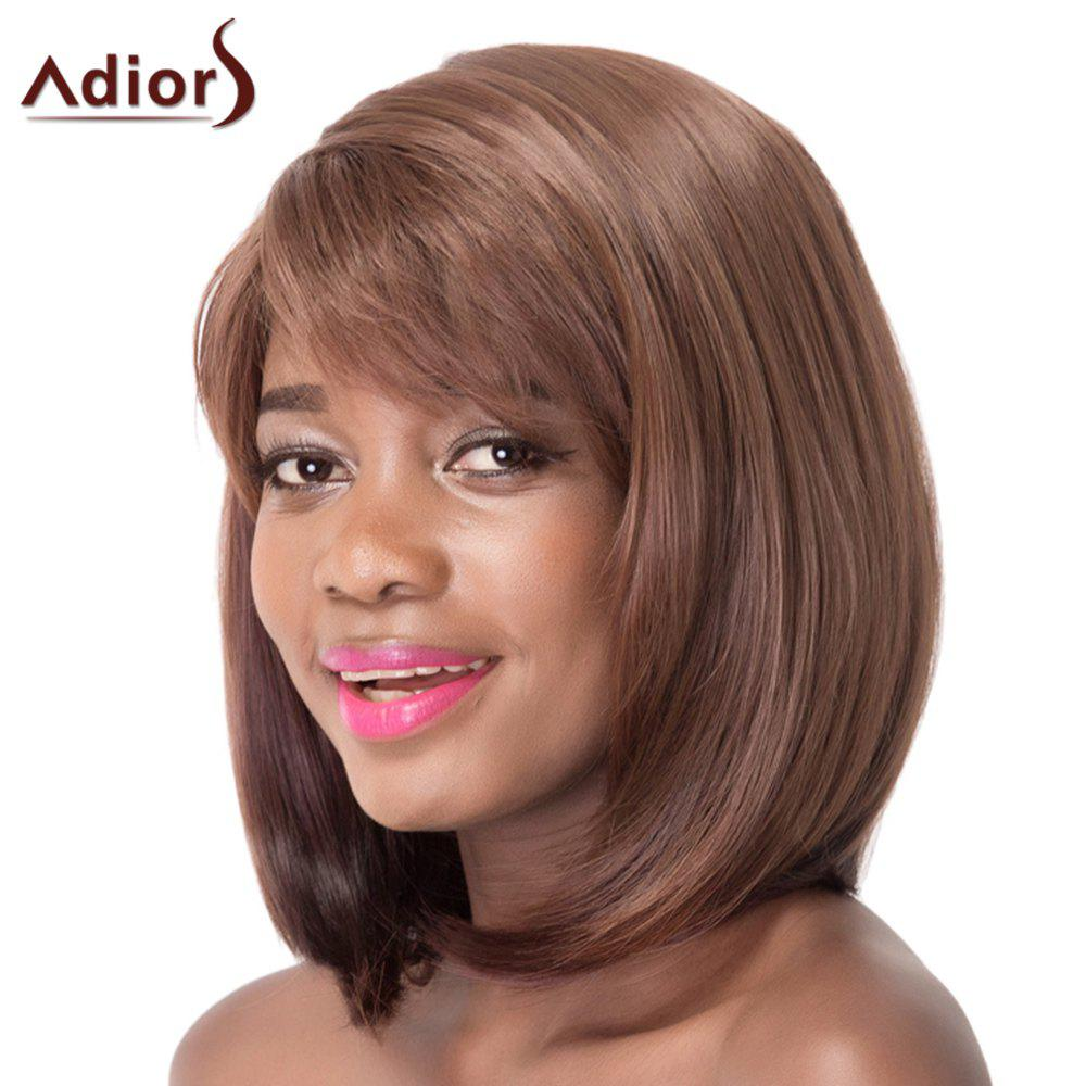 Brown Mixed Capless Straight Side Bang Synthetic Wig For Women