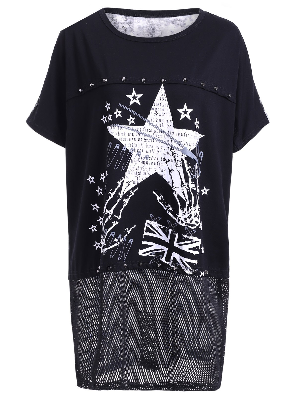 Trendy Women's Scoop Neck Star Pattern Short Sleeves T-Shirt - ONE SIZE(FIT SIZE XS TO M) BLACK
