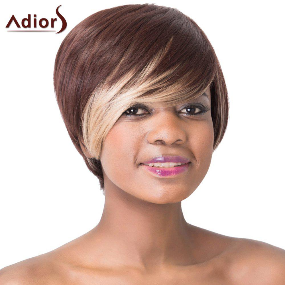Stunning Dark Brown Highlight Straight Synthetic Short Hairstyle Women's Capless Adiors Wig - COLORMIX