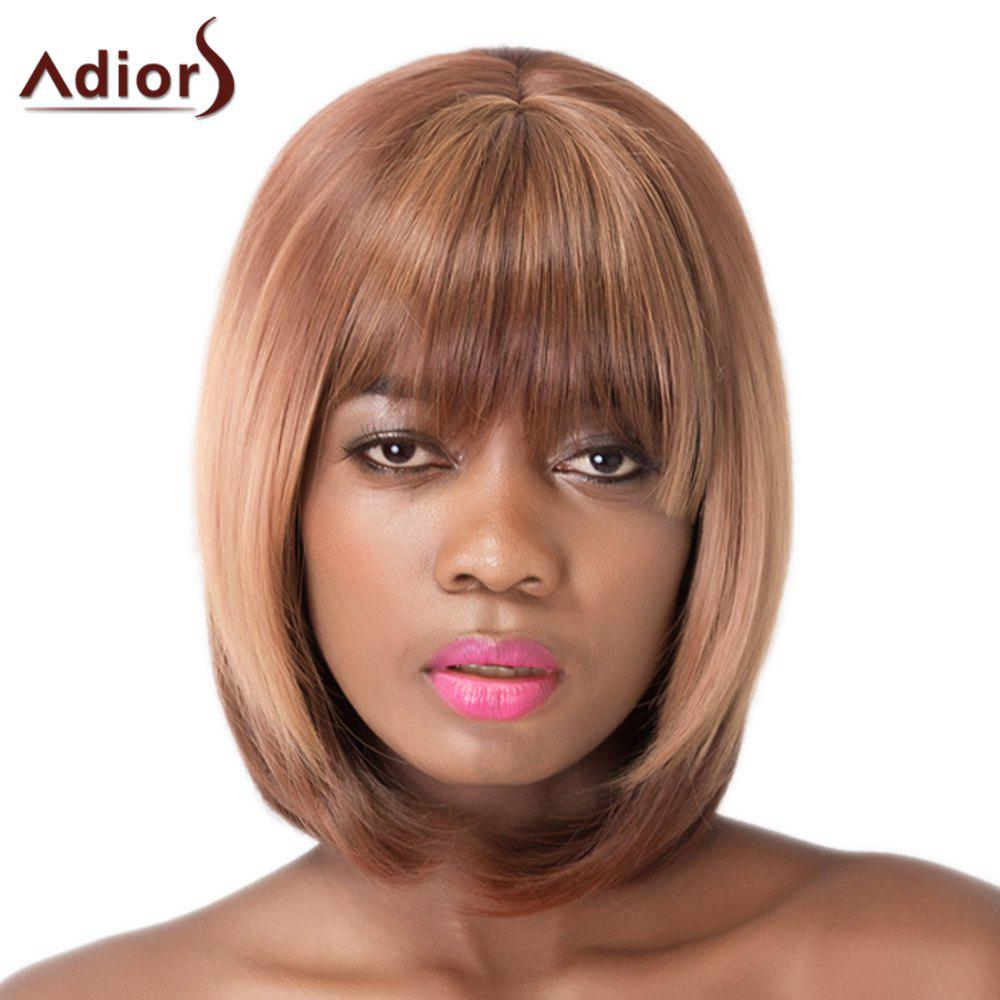 Brown Short Synthetic Straight Full Bang Capless Adiors Wig For Women