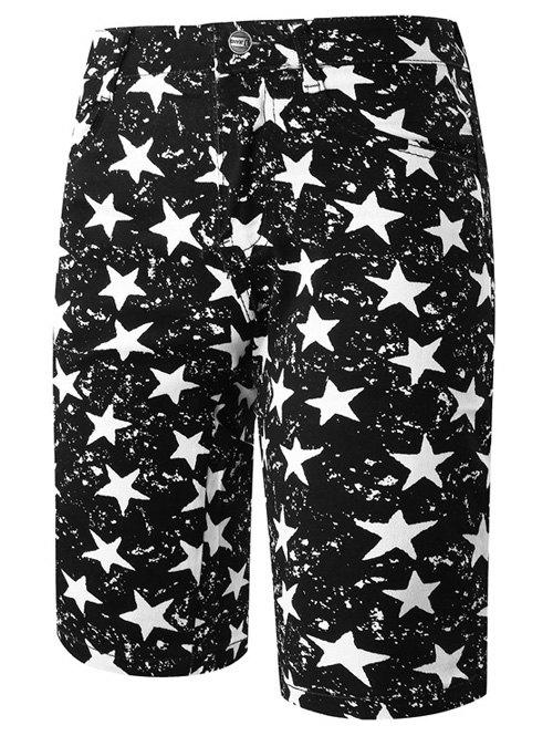 Stylish Straight Leg Pentagram Pattern Zipper Fly Men's Shorts - WHITE/BLACK 34