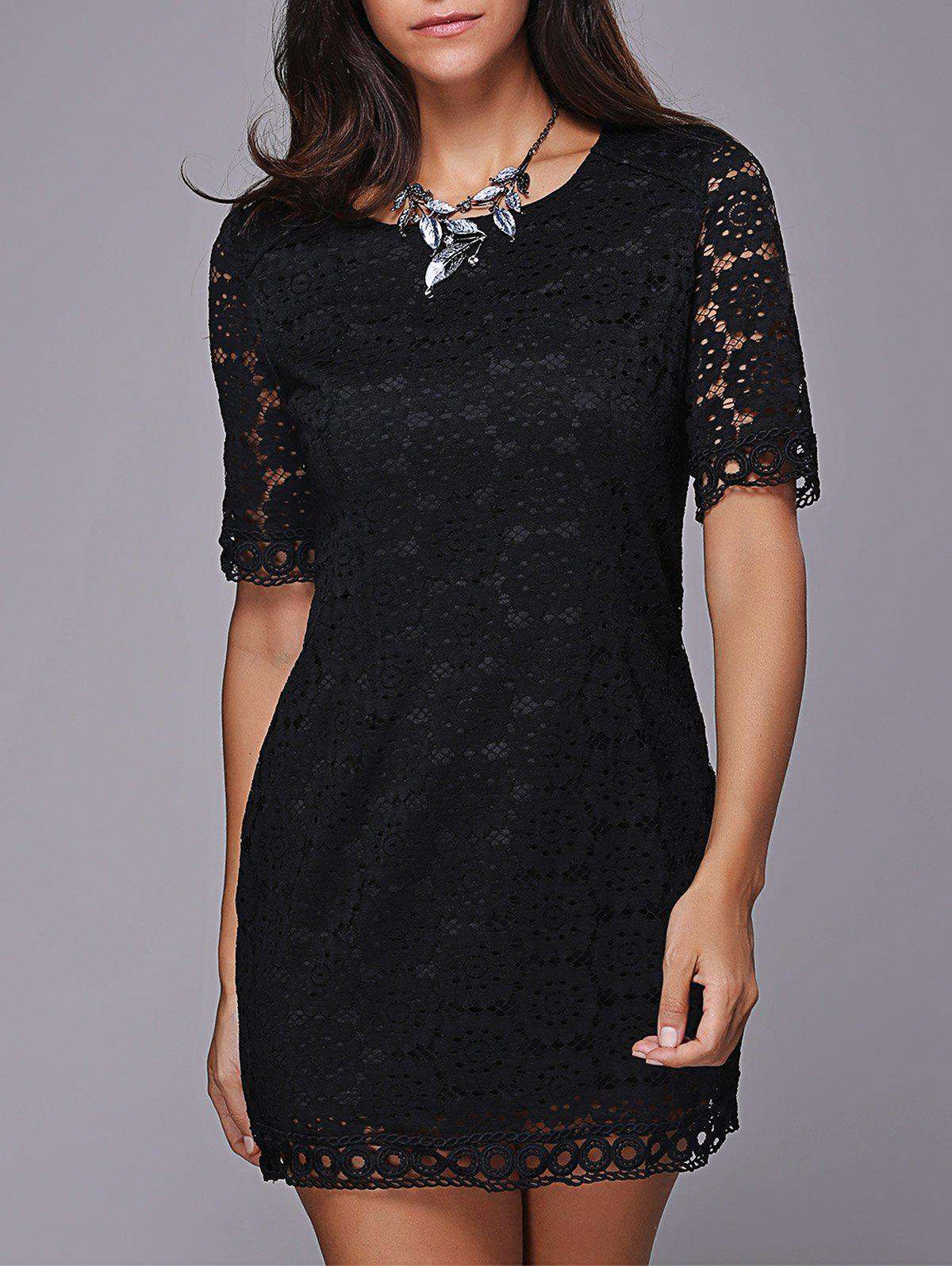 Trendy Short Sleeve Scoop Neck Lace Dress For Women - BLACK ONE SIZE(FIT SIZE XS TO M)