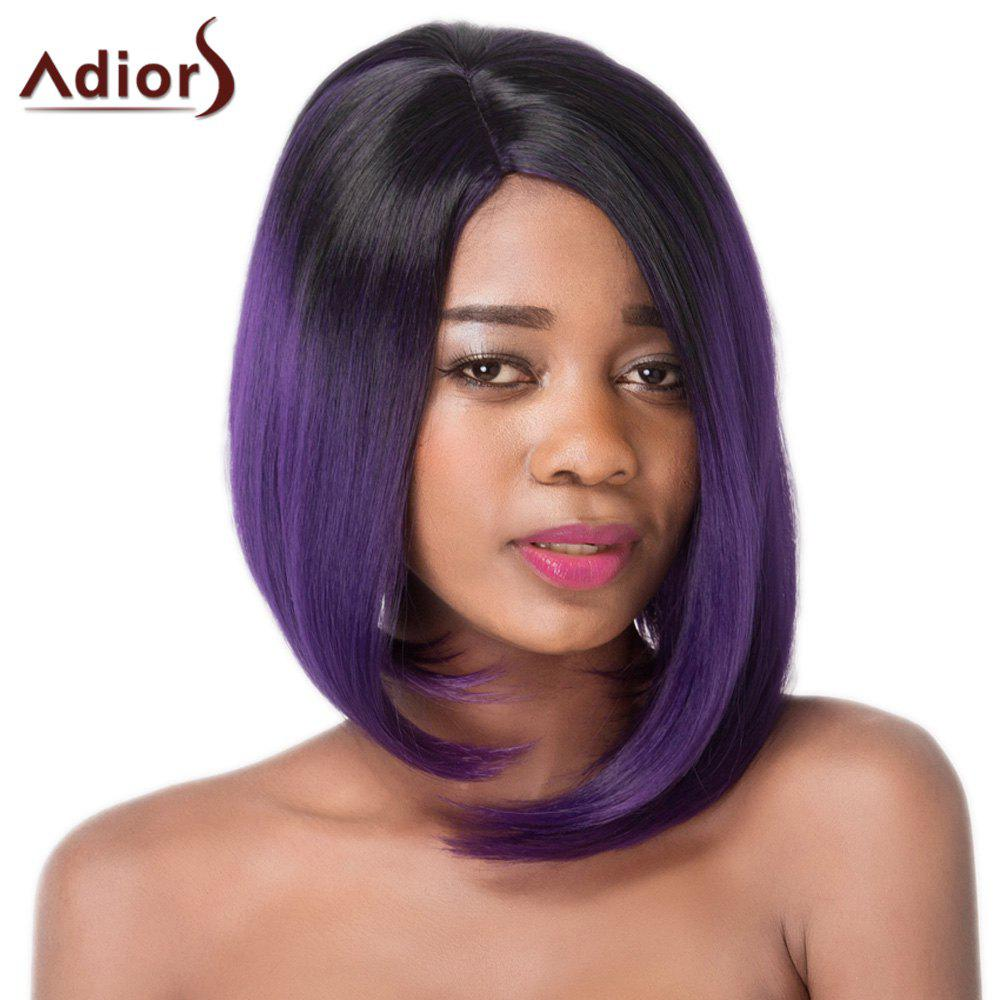 Faddish Medium Straight Asymmetry Hair Mixed Color Women's Synthetic Adiors Wig - COLORMIX
